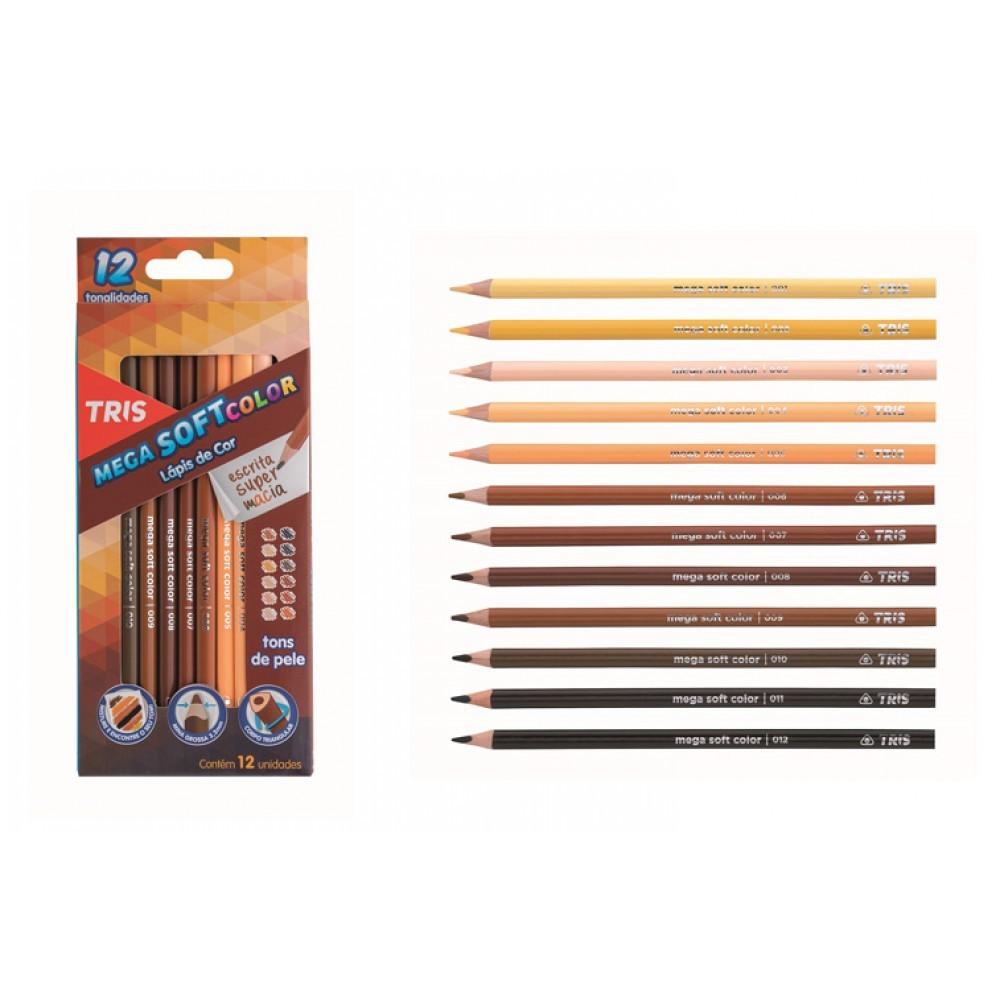 Lapis de Cor Tons de Pele 12 Cores Mega SoftColor TRIS