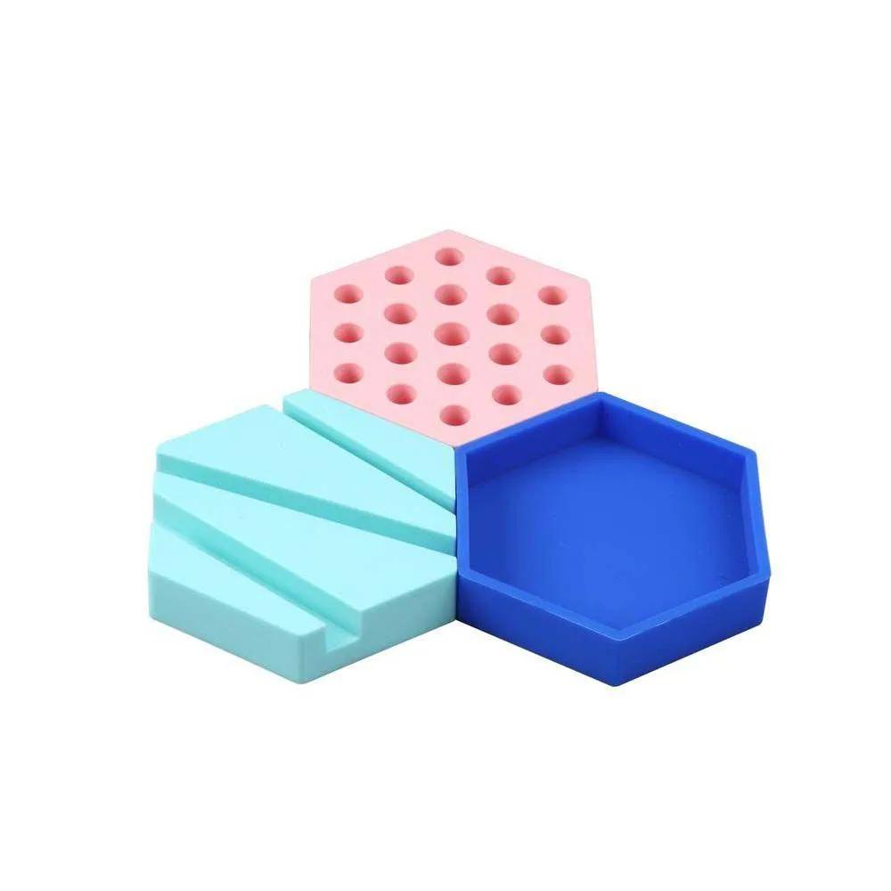 Organizador De Mesa Colorido 3 peças Silicone UP4YOU