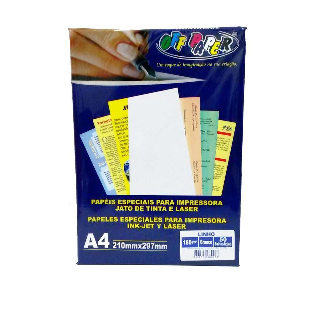 Papel Linho 180GRS Branco 50FLS OFF PAPER