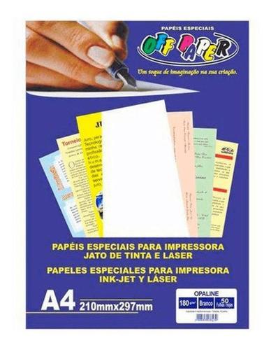 Papel Opaline 180GRS BRANCO 50FLS OFF PAPER