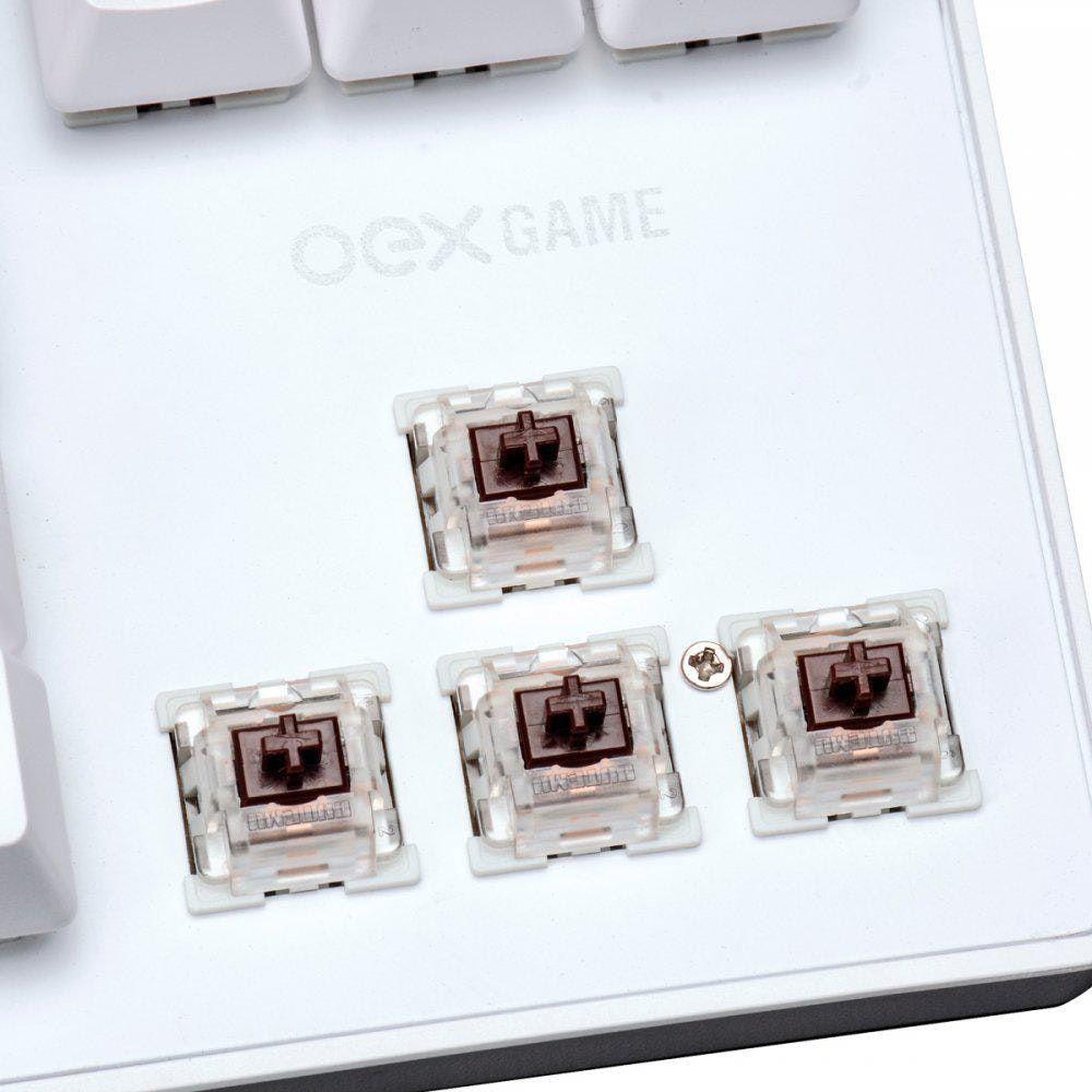 Teclado Gamer WOLF TC-605 RGB c/fio USB Branco OEX
