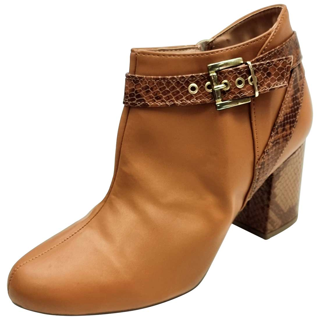 Ankle Boot com Fivela - Caramelo