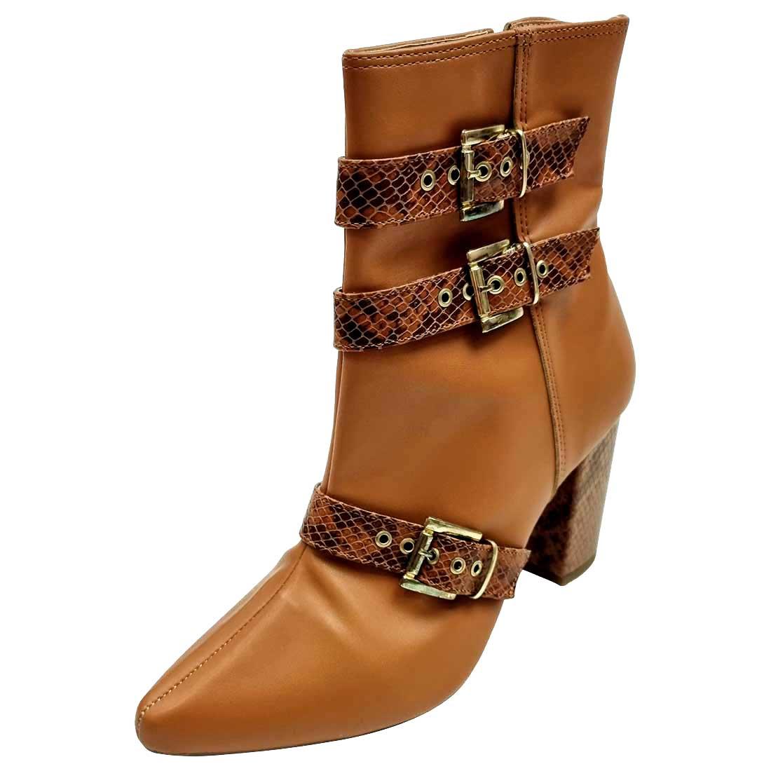 Ankle Boot com Fivelas Croco - Caramelo