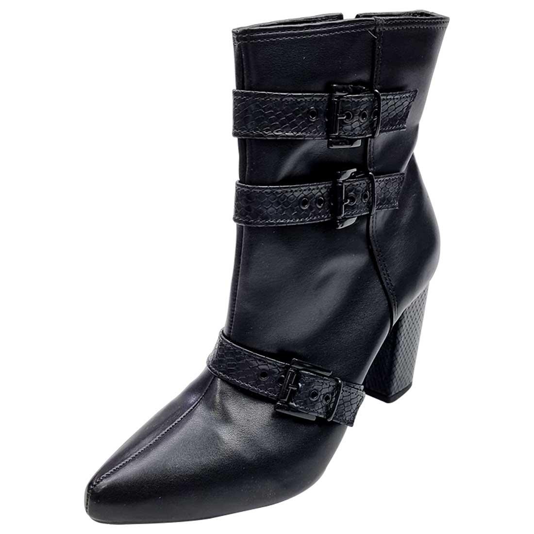 Ankle Boot com Fivelas Croco - Preto