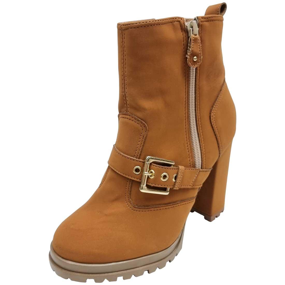 Ankle Boot com Zíper e Fivela - Caramelo