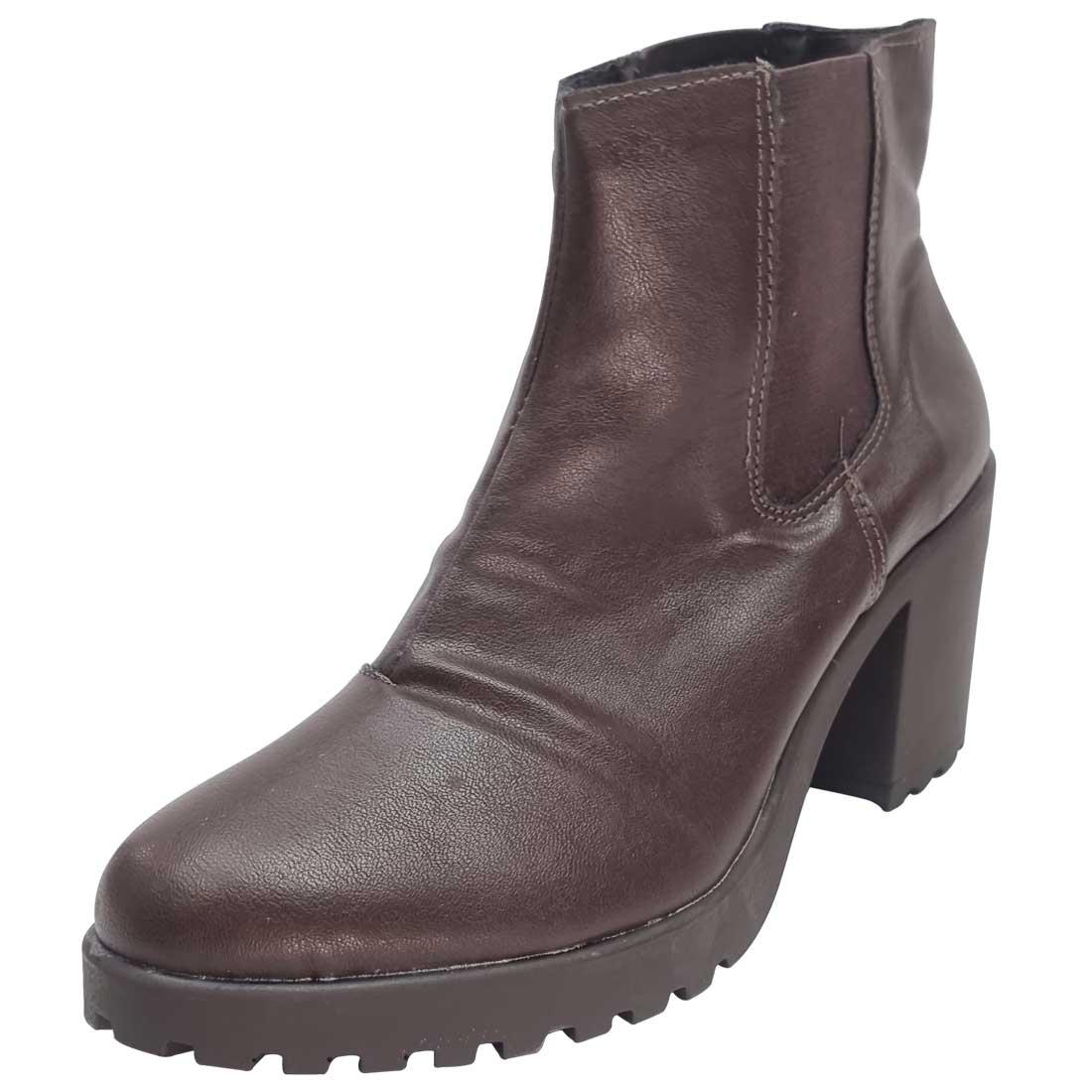 Ankle Boot Tratorado com Elástico - Marrom