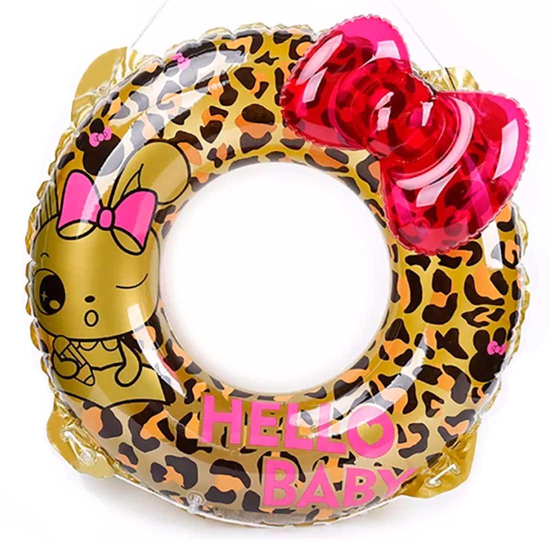 Bóia Redonda Hello Baby Oncinha e Laço 90cm - Dourada e Pink