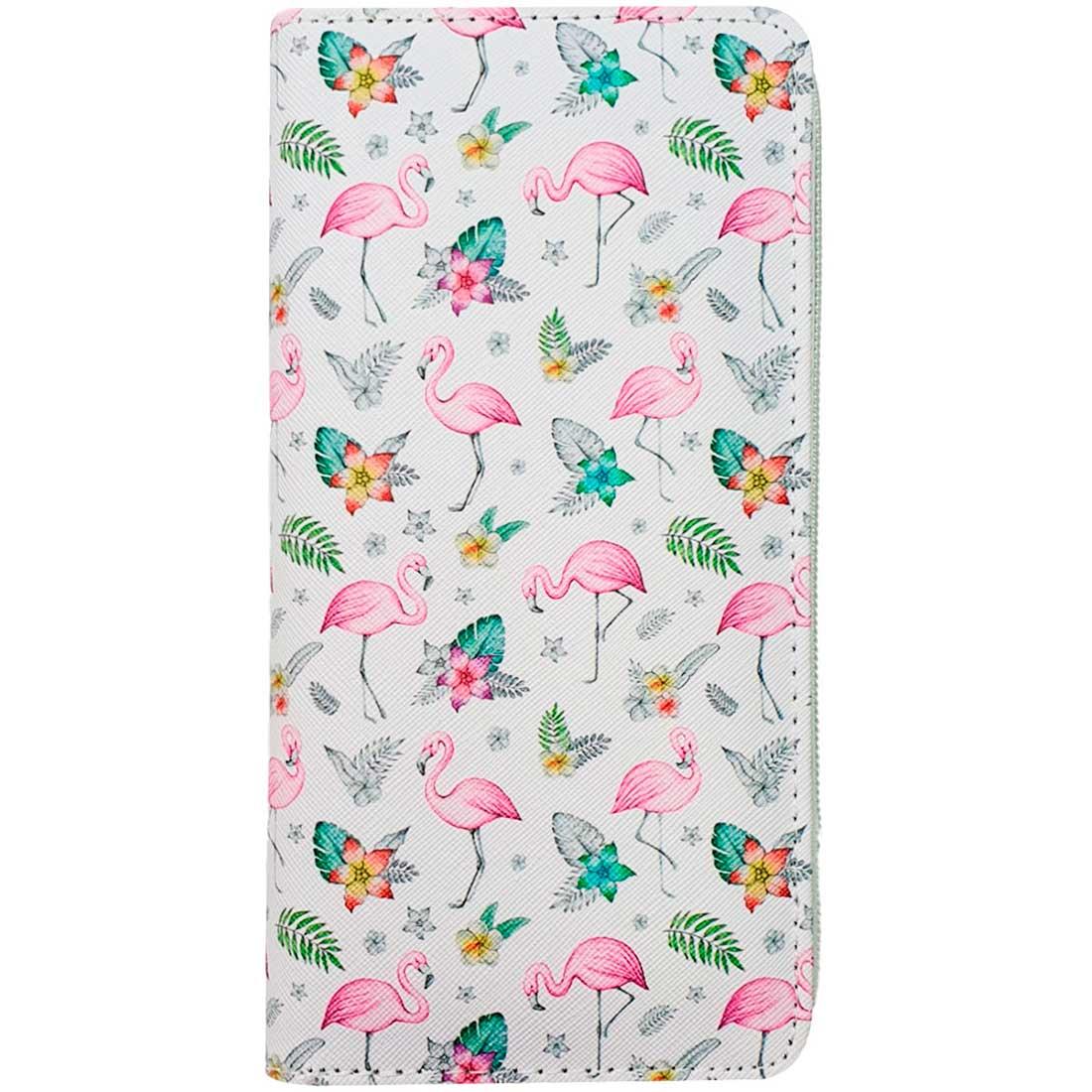 Carteira Estampada de Flamingo - Branco