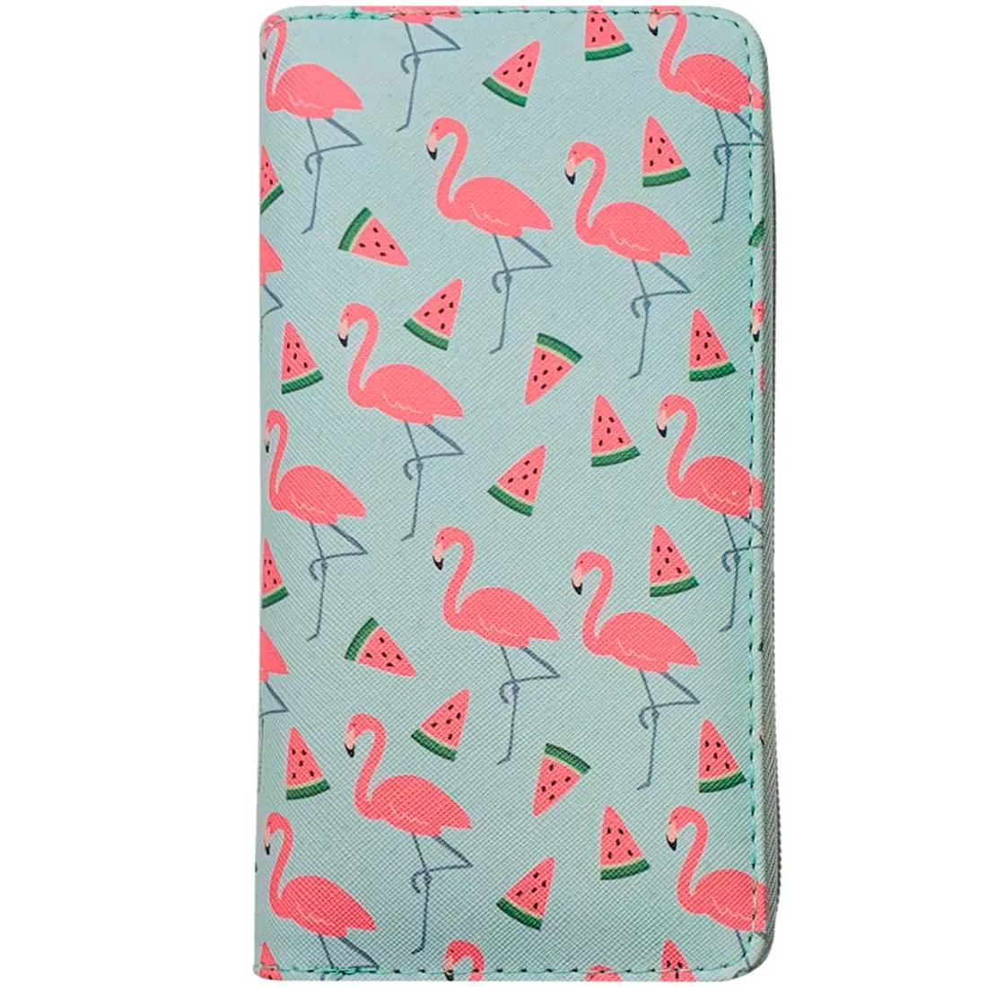 Carteira Estampada de Flamingos e Melancia - Verde