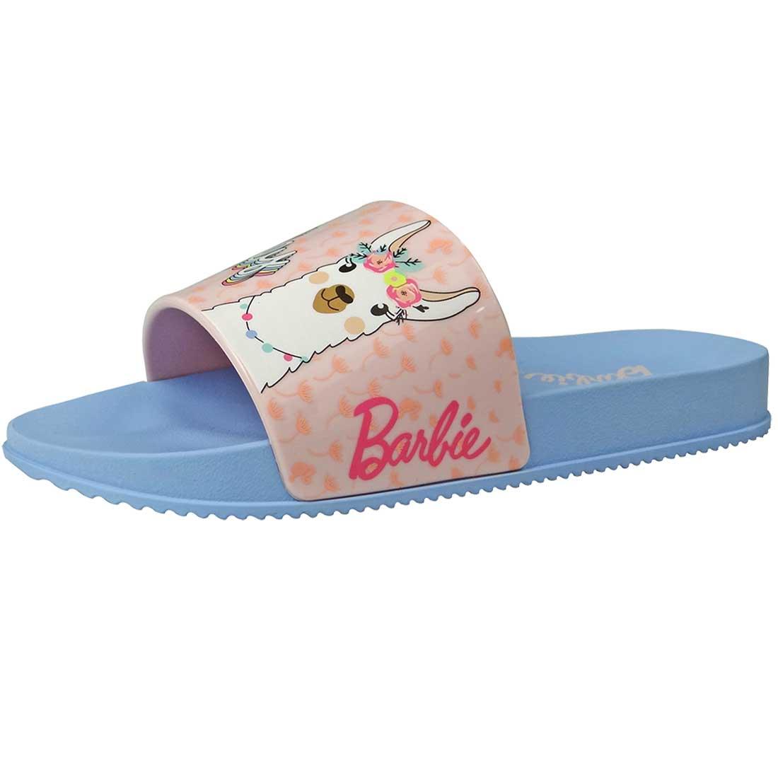 Chinelo Kids Barbie Slide Lhama - Azul e Rosa