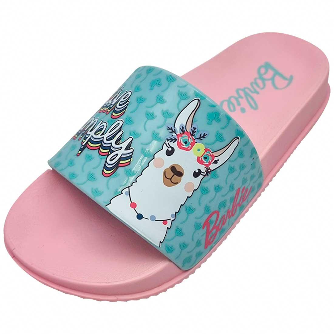 Chinelo Kids Barbie Slide Lhama - Rosa e Verde