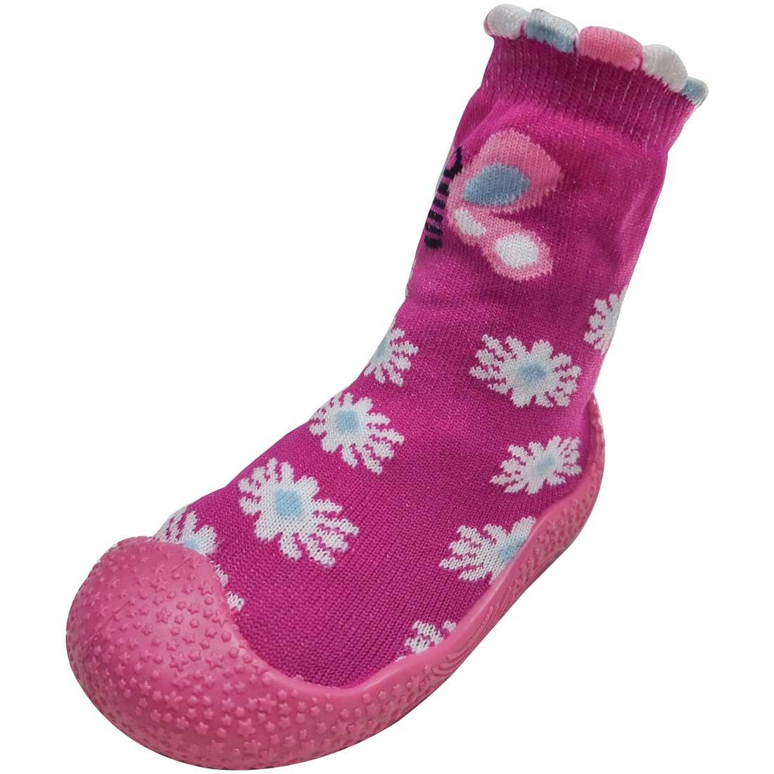 Meia Baby com Solado Borboleta - Pink