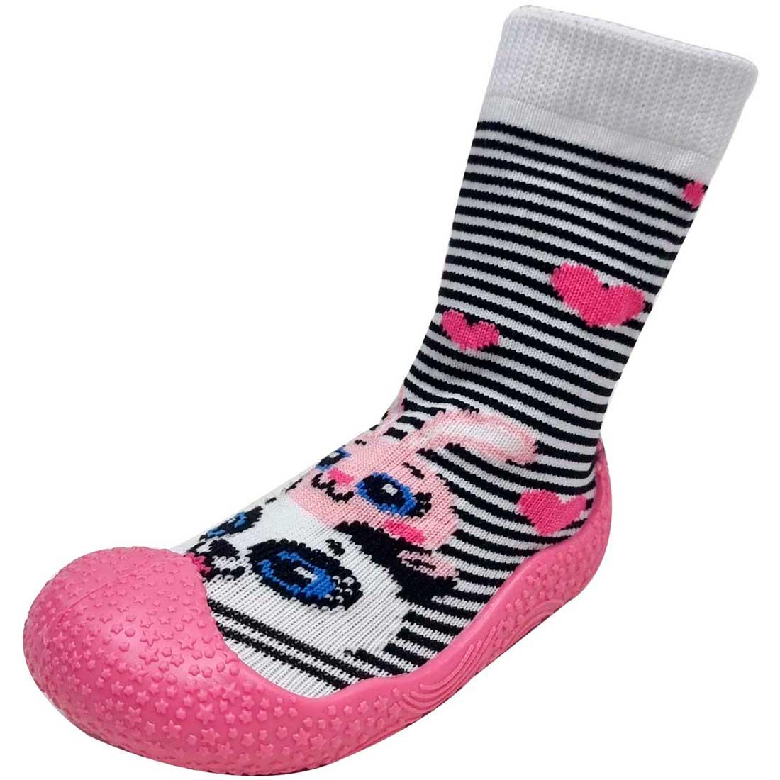 Meia Baby com Solado Panda Listrado - Pink