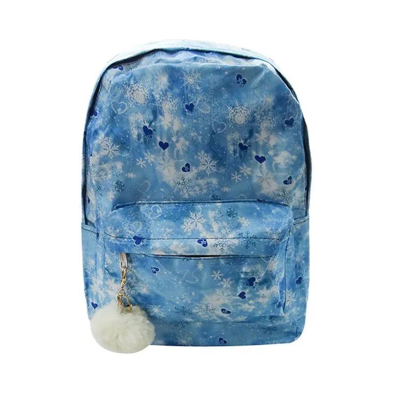 Mochila Estampada com Flocos de Neve - Azul