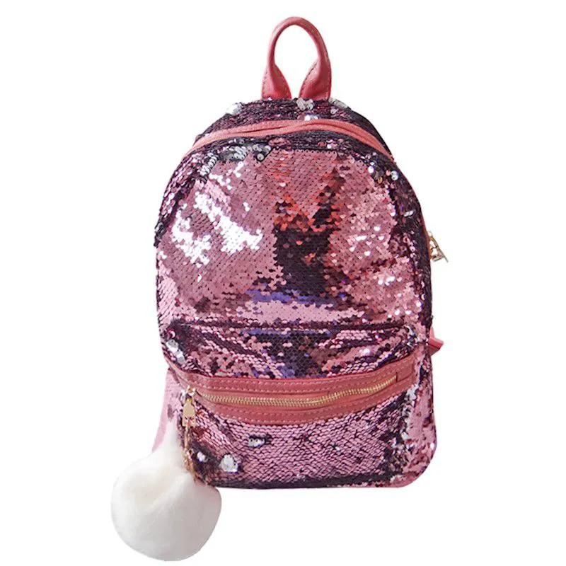 Mochila Paetê 2 em 1 Média - Pink e Prata