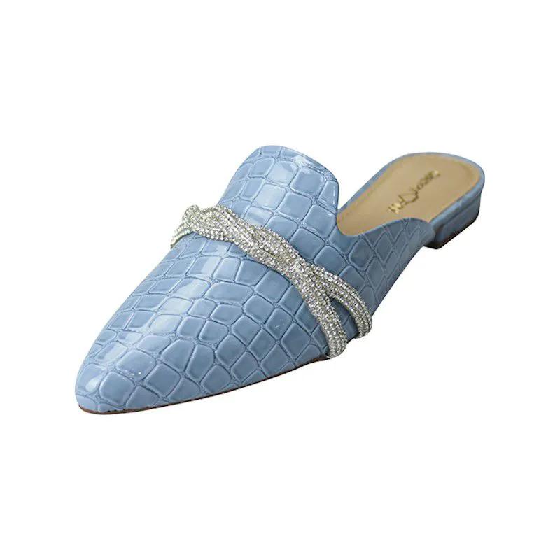 Mule Bico Fino com Pedras - Croco Azul Bebê