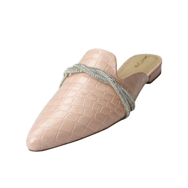 Mule Bico Fino com Pedras - Croco Rosa Bebê
