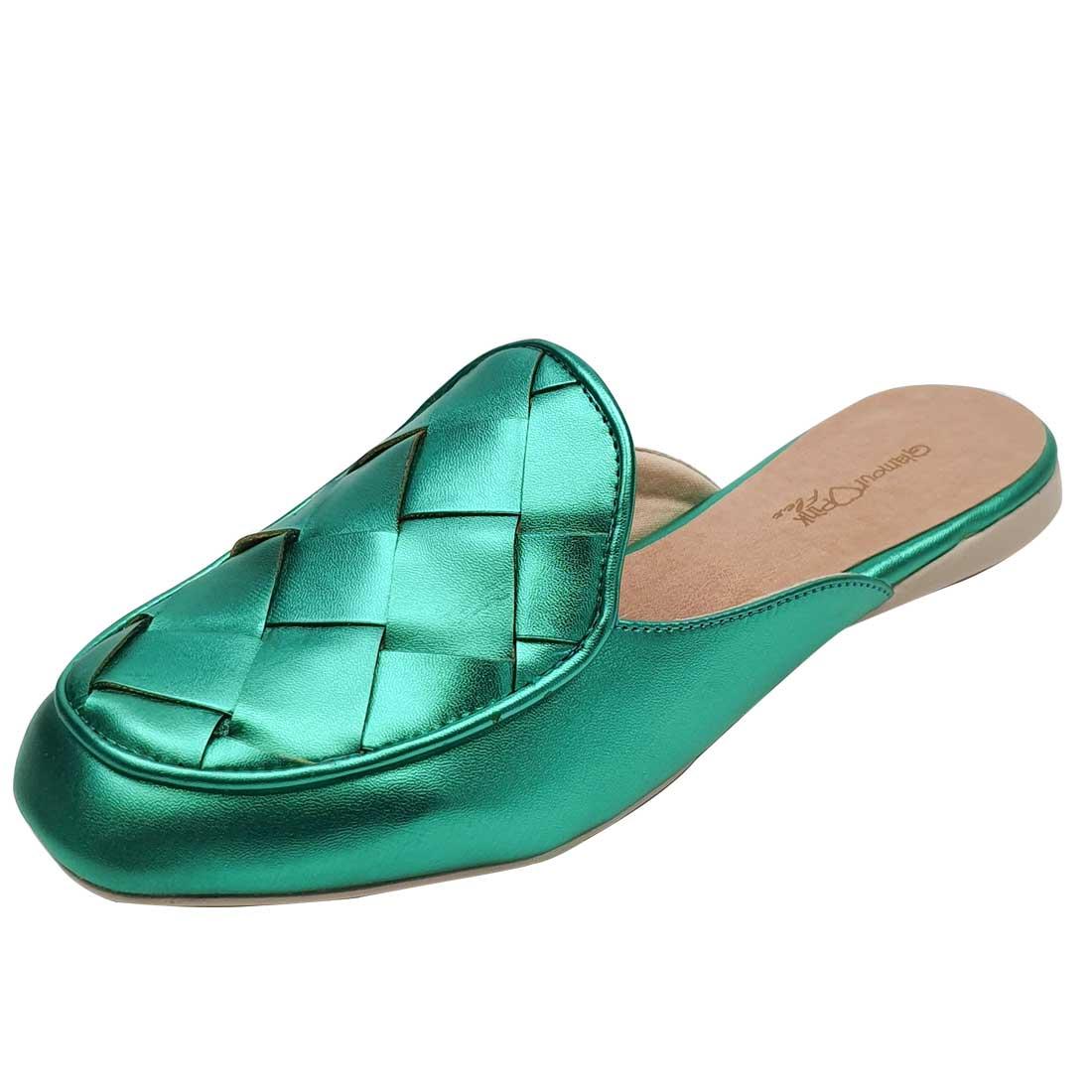 Mule Metalizada Trançada - Verde Esmeralda