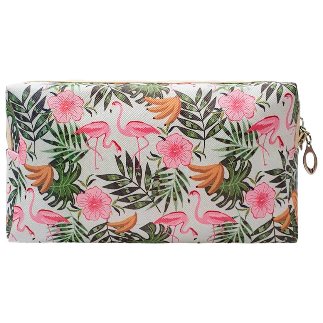 Necessaire de Flamingo com Bananas e Folhas - Verde