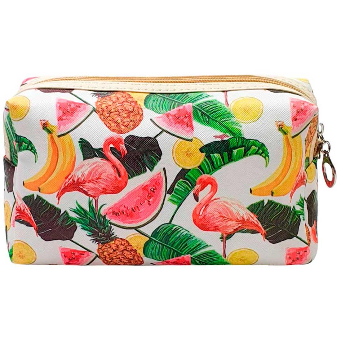 Necessaire de Flamingo e Frutas - Branca