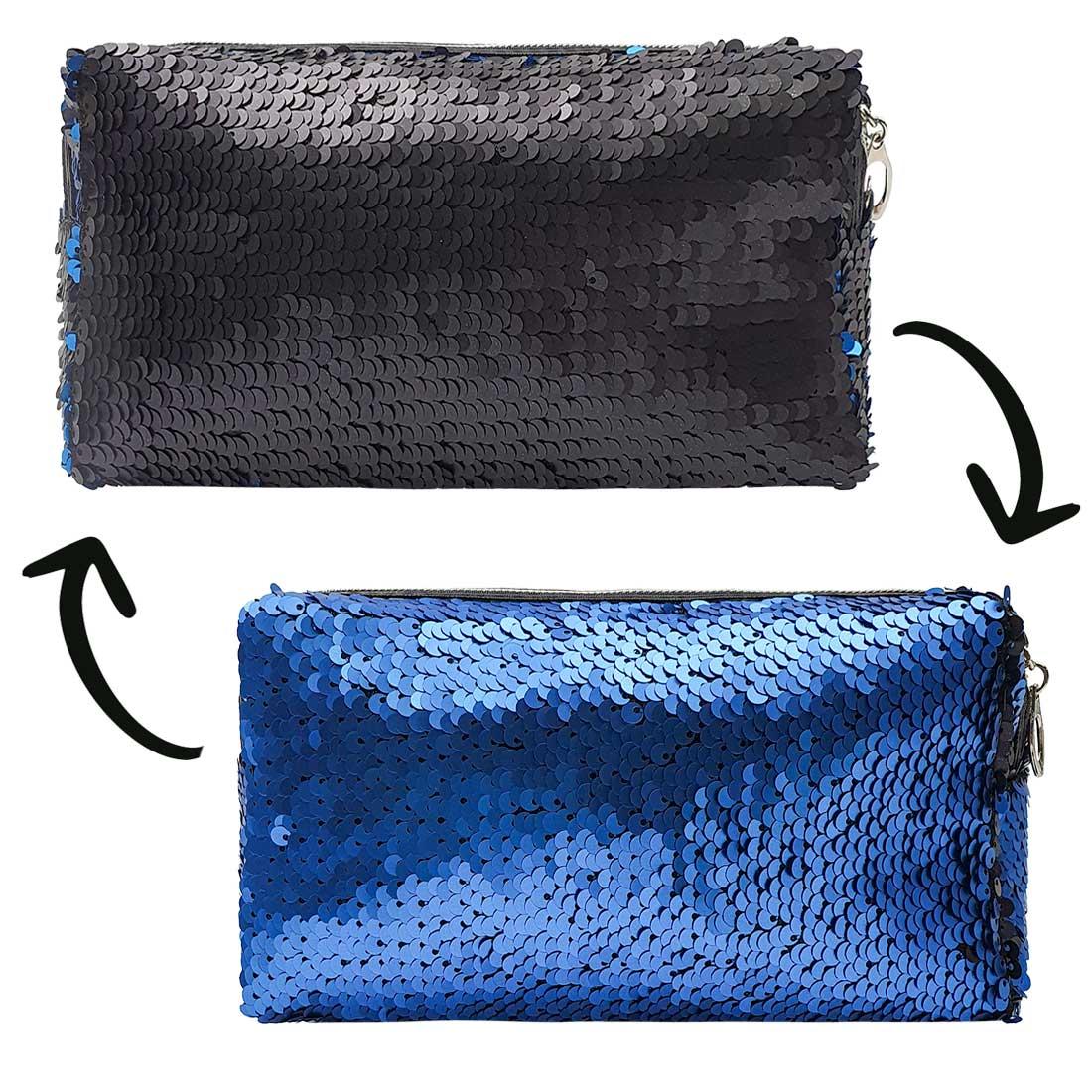 Necessaire de Paetê - Azul com Preto