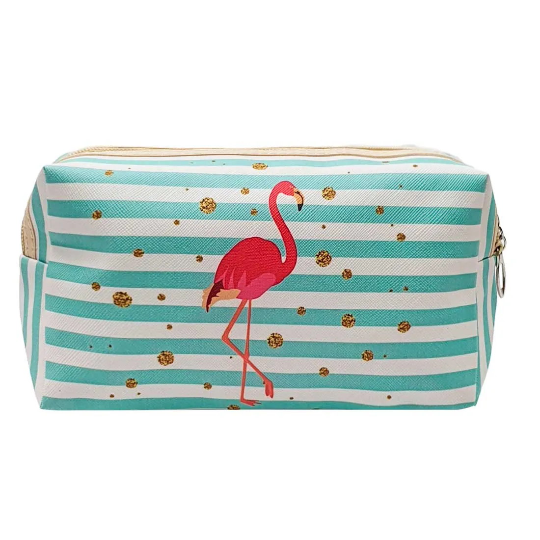 Necessaire Estampada de Flamingo Listrada - Azul e Branco