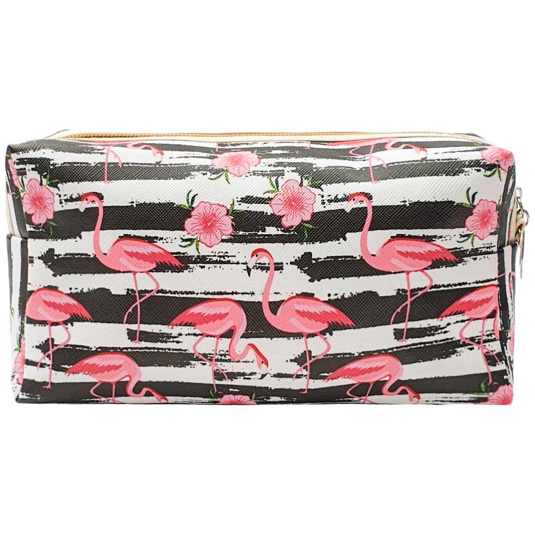 Necessaire Listrada com Flamingos e Flores - Branca e Preto