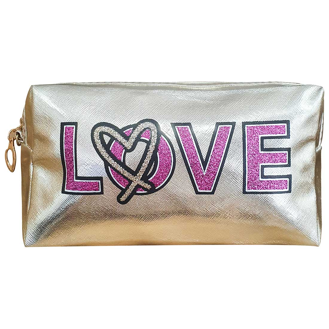 Necessaire Love - Ouro Light com Pink