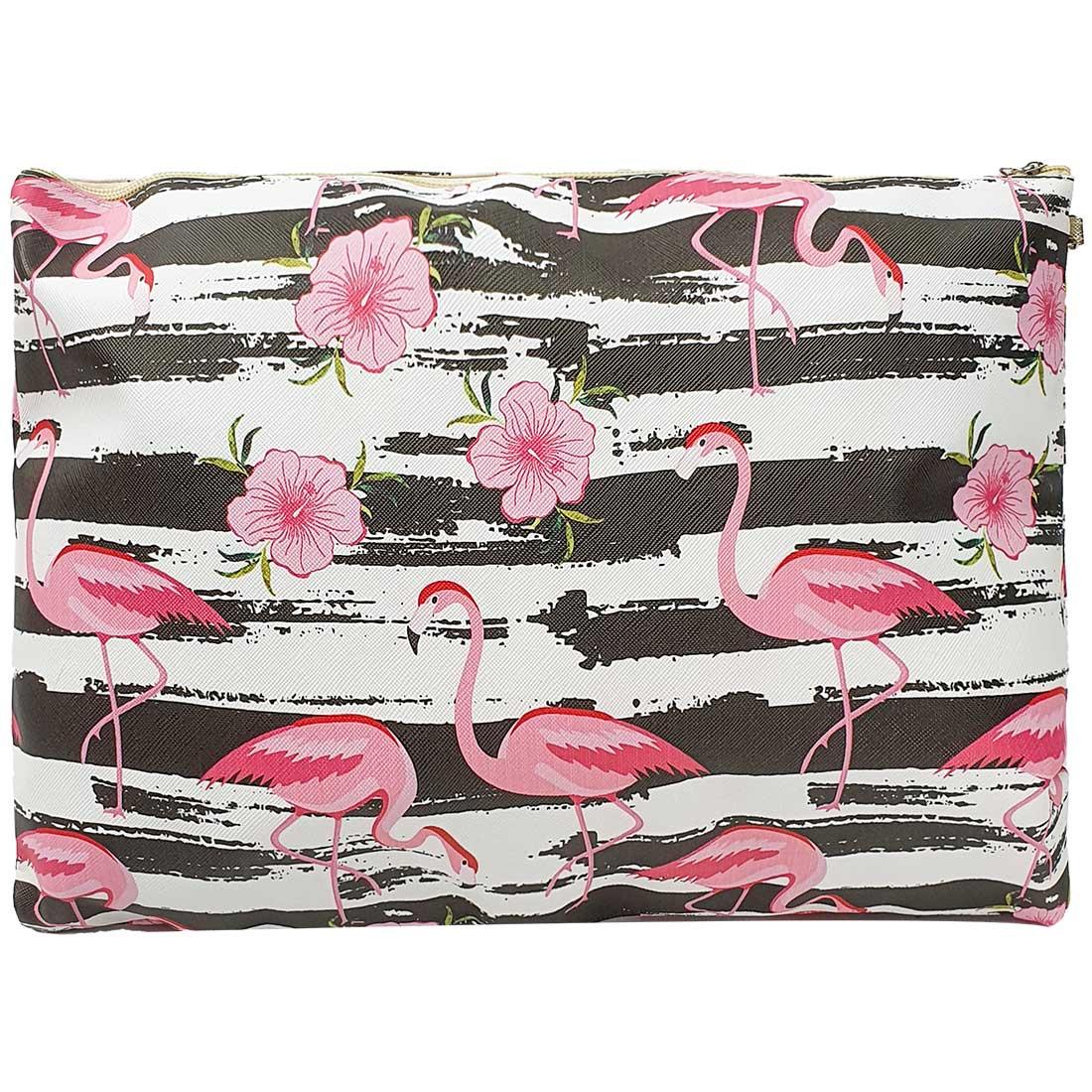 Necessaire Quadrada de Flamingo Listrada - Branca e Preta