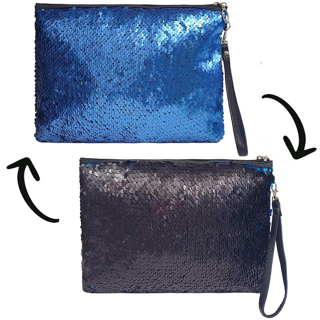 Necessaire Quadrada de Paetê - Azul com Preto