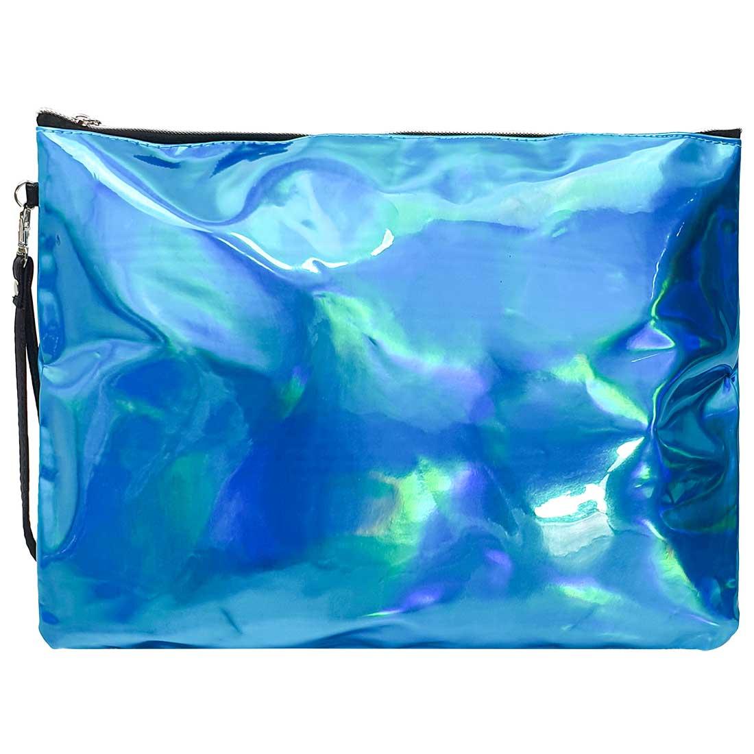 Necessaire Quadrada Holográfica - Azul Bebê