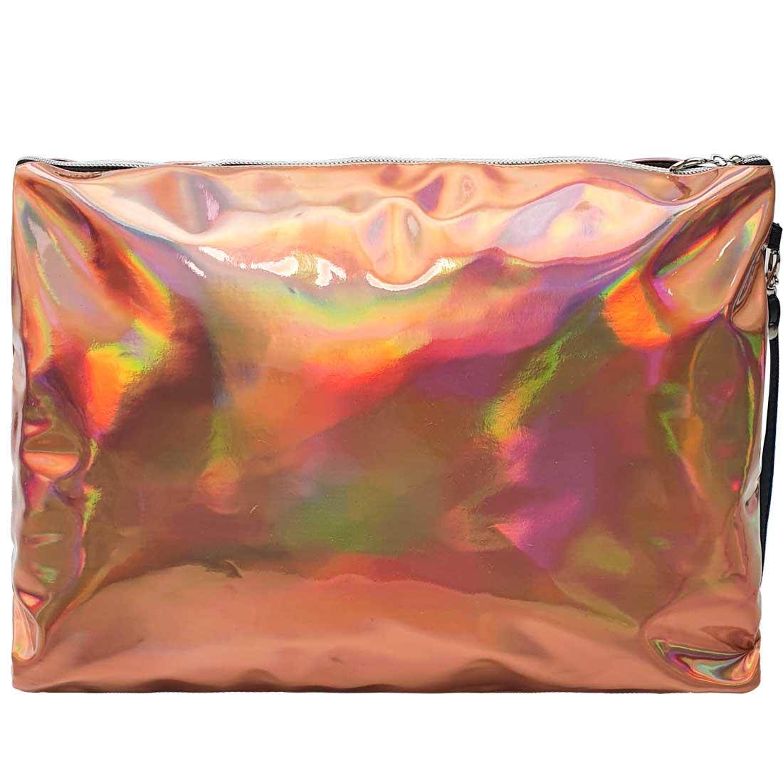 Necessaire Quadrada Holográfica - Ouro Rosé