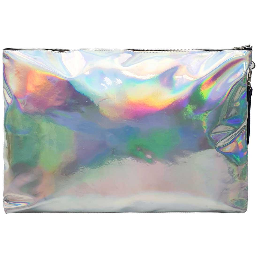 Necessaire Quadrada Holográfica - Prata