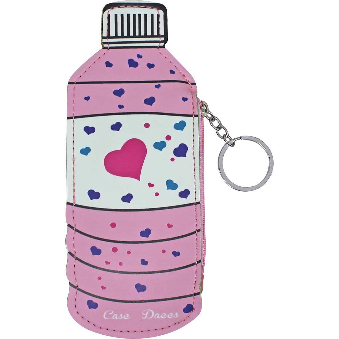 Porta Moedas Chaveiro Garrafinha Coração - Rosa
