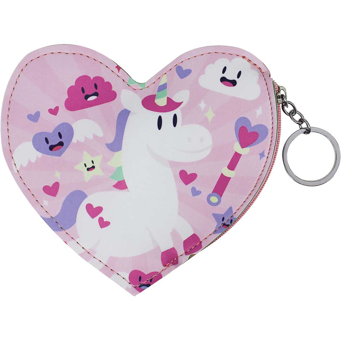 Porta Moedas Chaveiro Unicórnio Coração - Rosa
