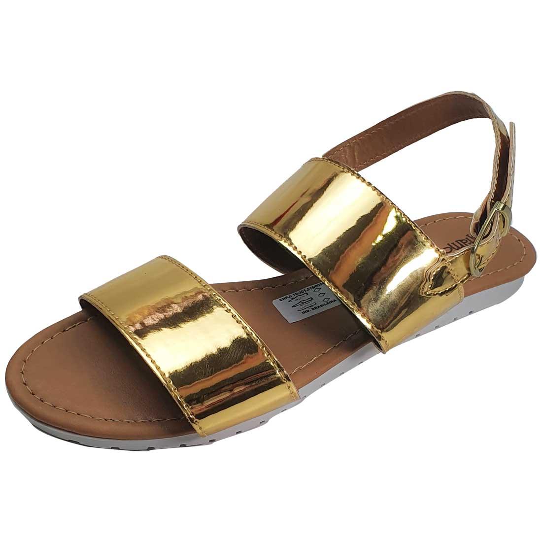 Rasteira Flat Espelhada - Ouro