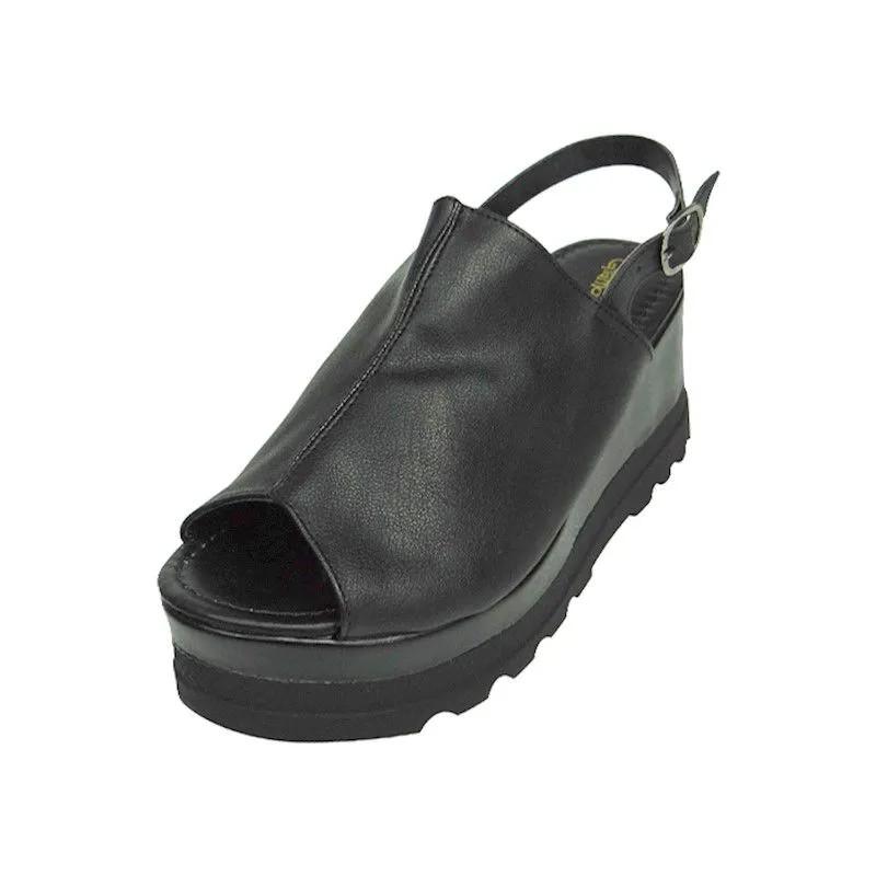 Sandal Boot Anabela com Salto Tratorado - Preta