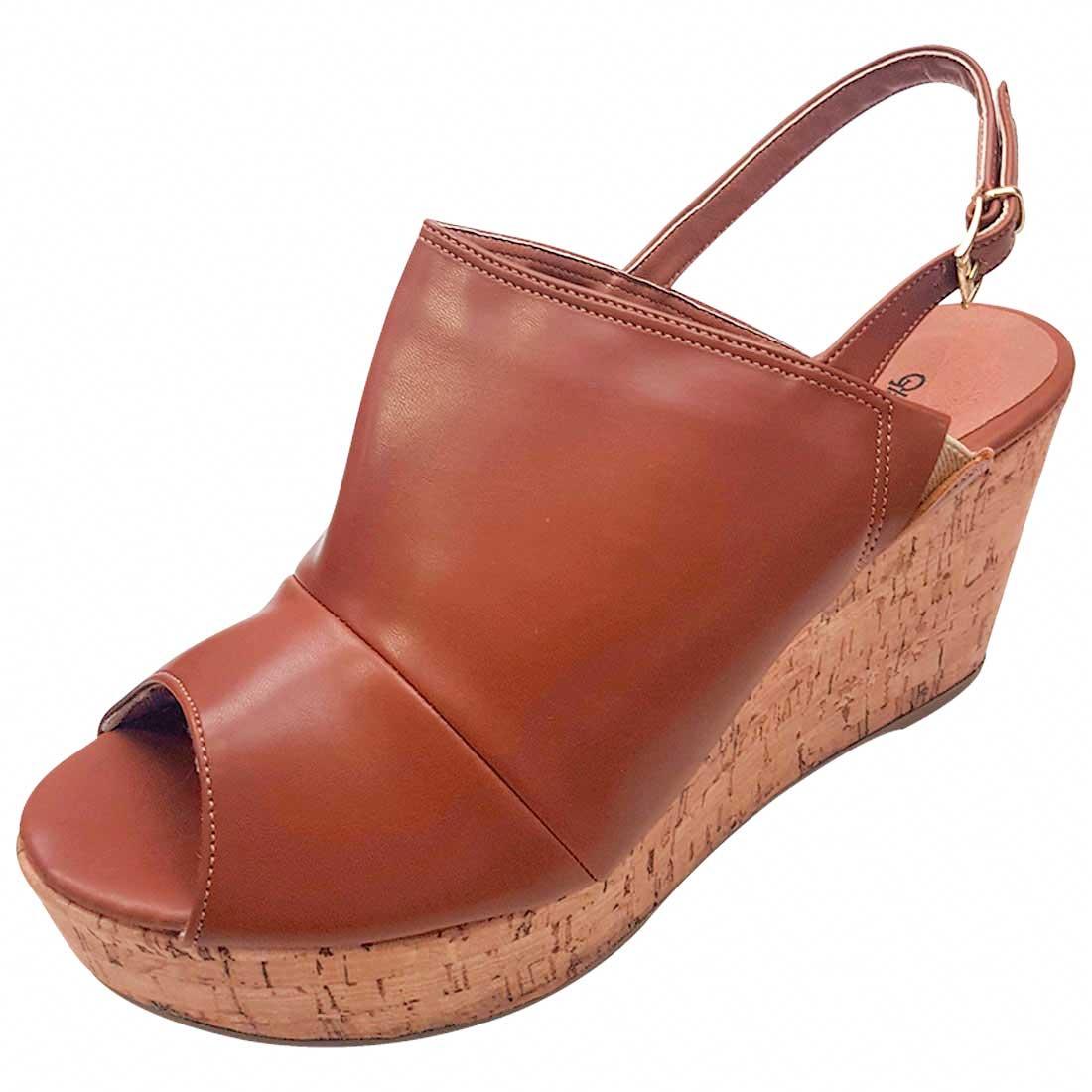 Sandal Boot Anabela de Salto Cortiça - Caramelo