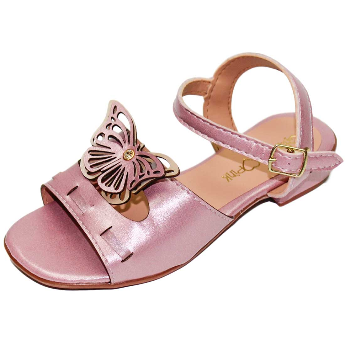 Sandália Baby Borboleta Metalizada - Rosa