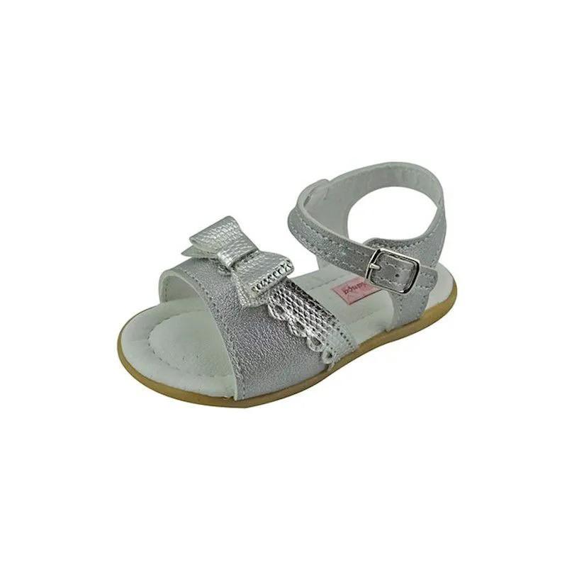 Sandália Baby com Laço - Prata