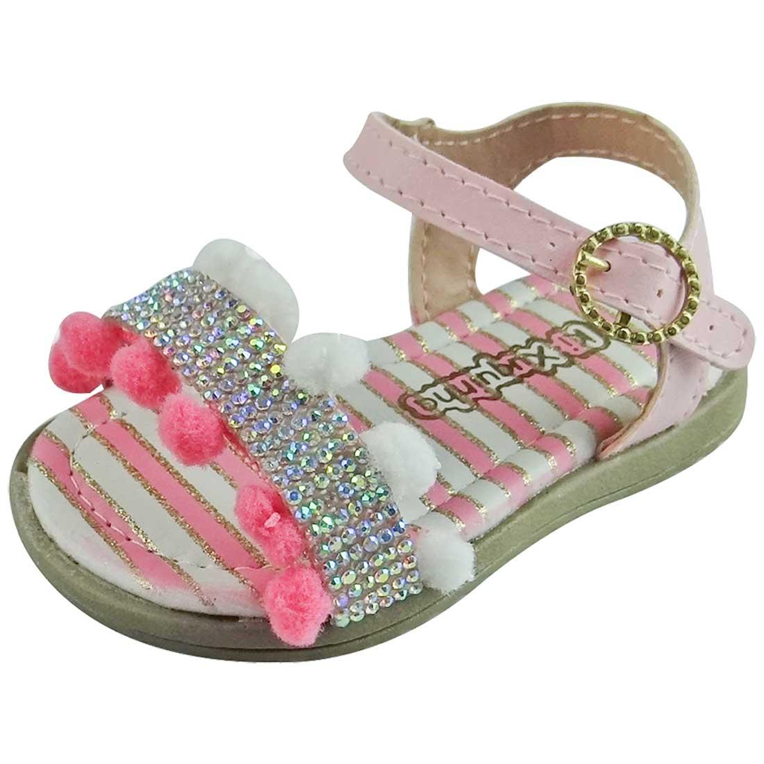 Sandália Baby com Pompom e Glitter - Rosa