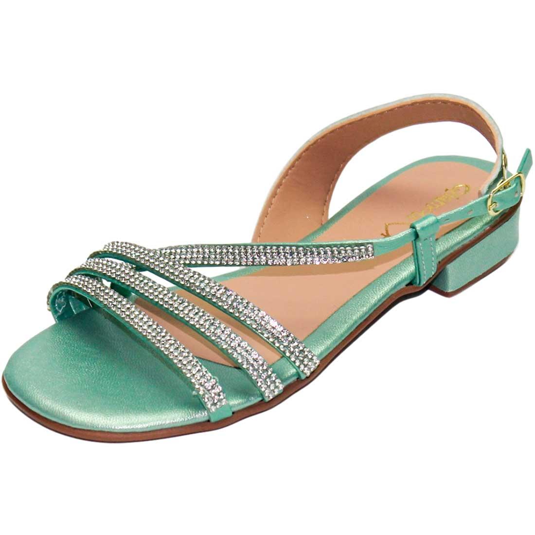 Sandália Baby com Tiras Metalizada - Verde