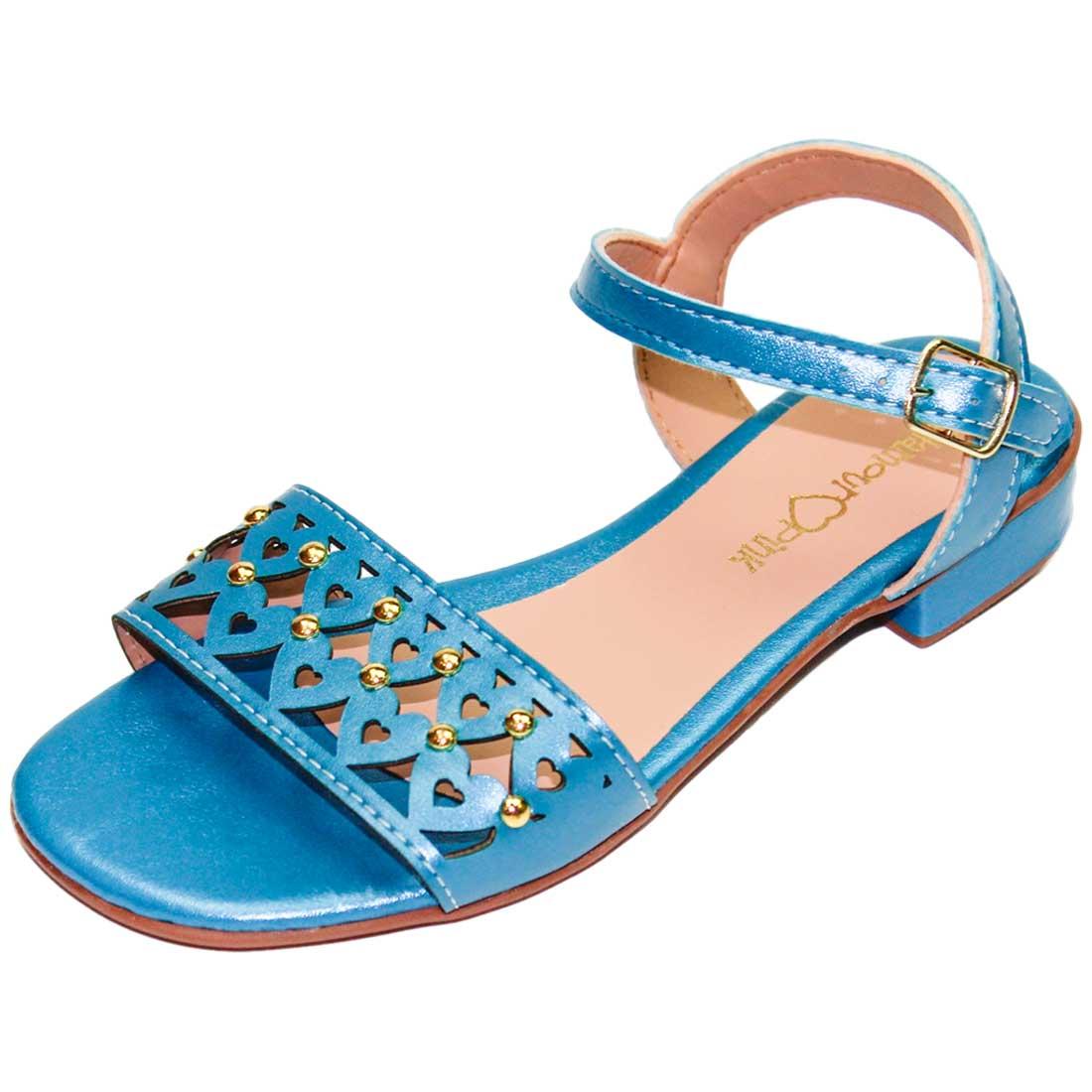 Sandália Baby Coração Metalizada - Azul