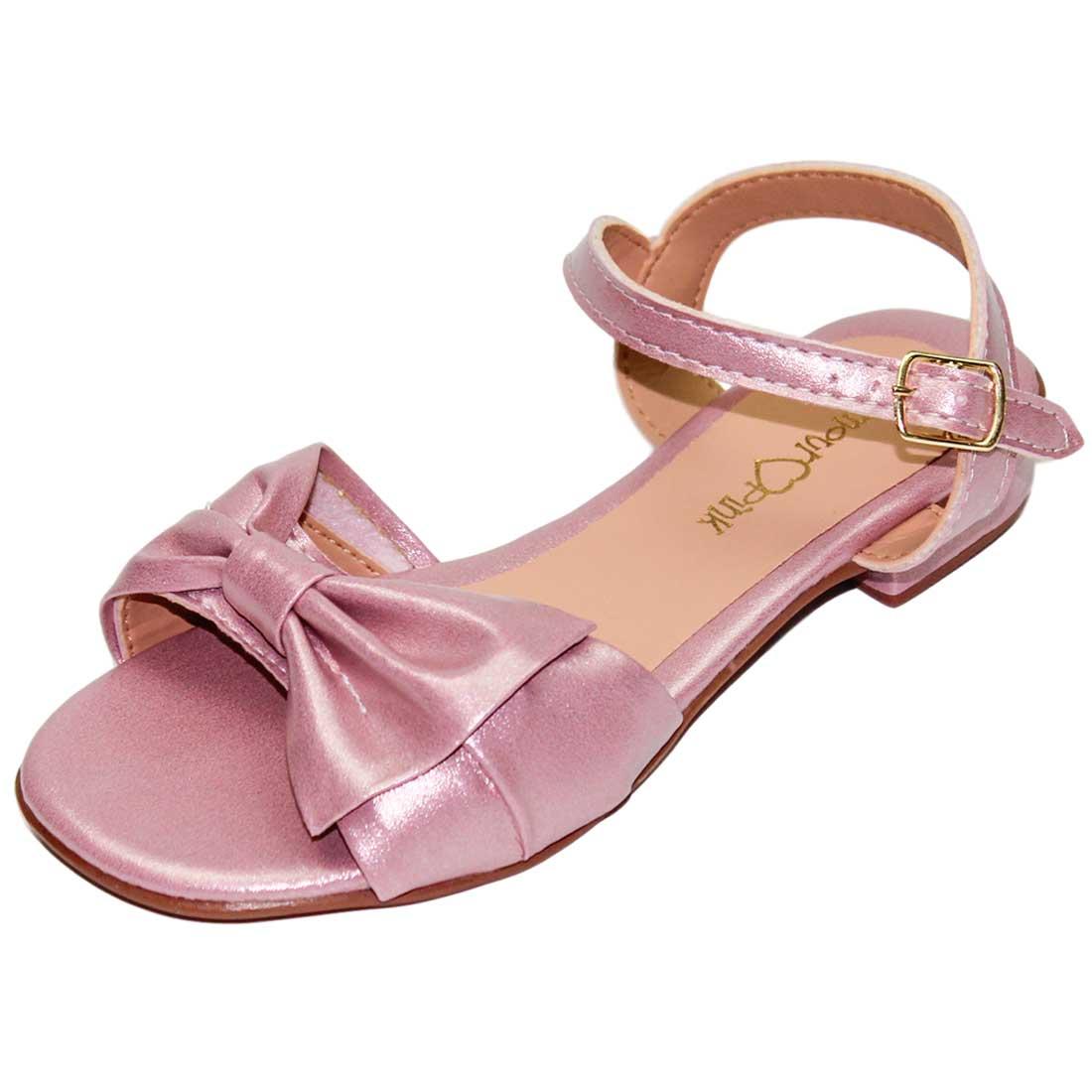 Sandália Baby Laço Metalizado - Rosa