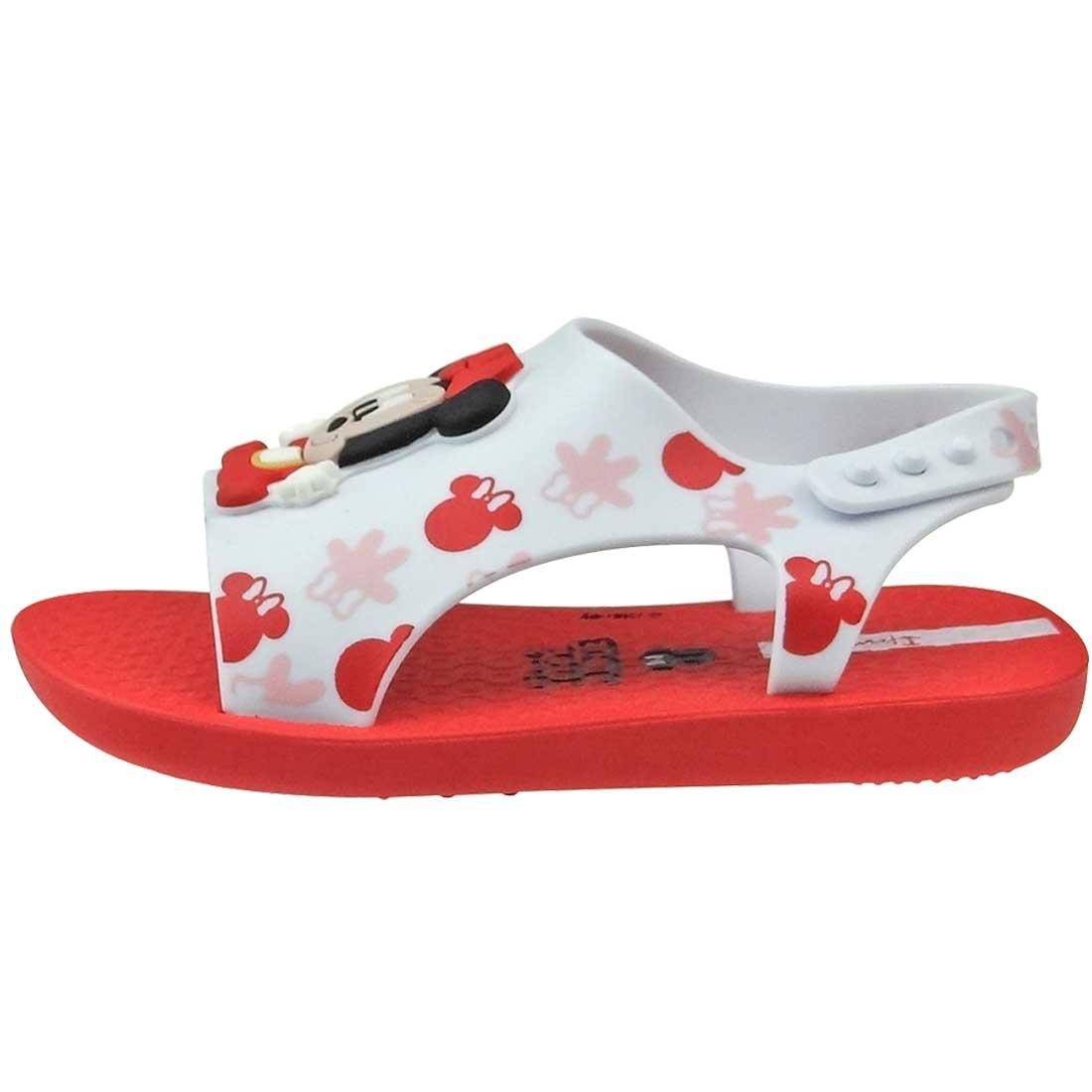 Sandália Baby Love Disney - Branco e Vermelho