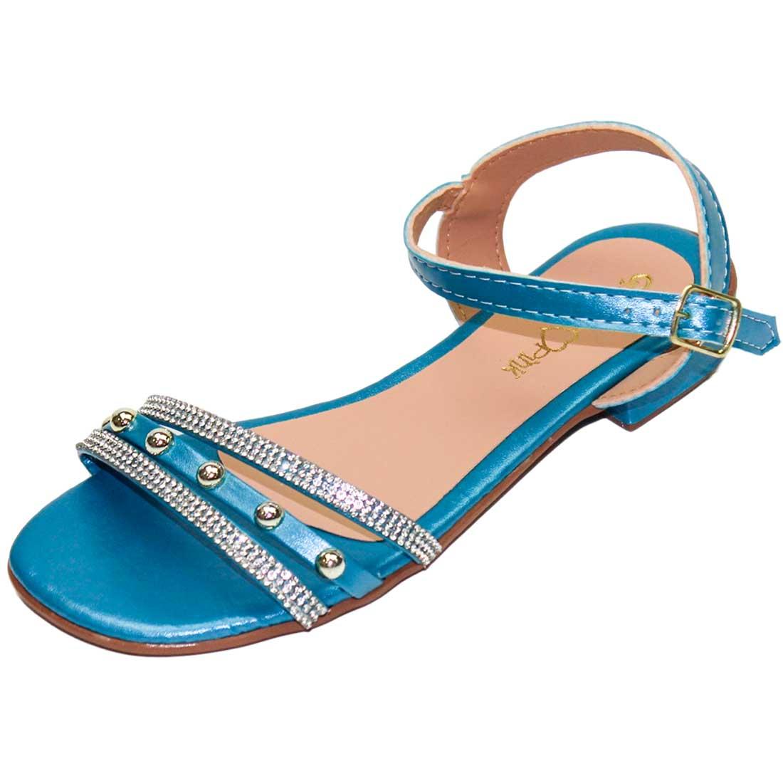 Sandália Baby Strass e Bolinha - Azul