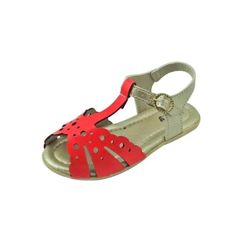 Sandália Baby - Vermelho e Dourado