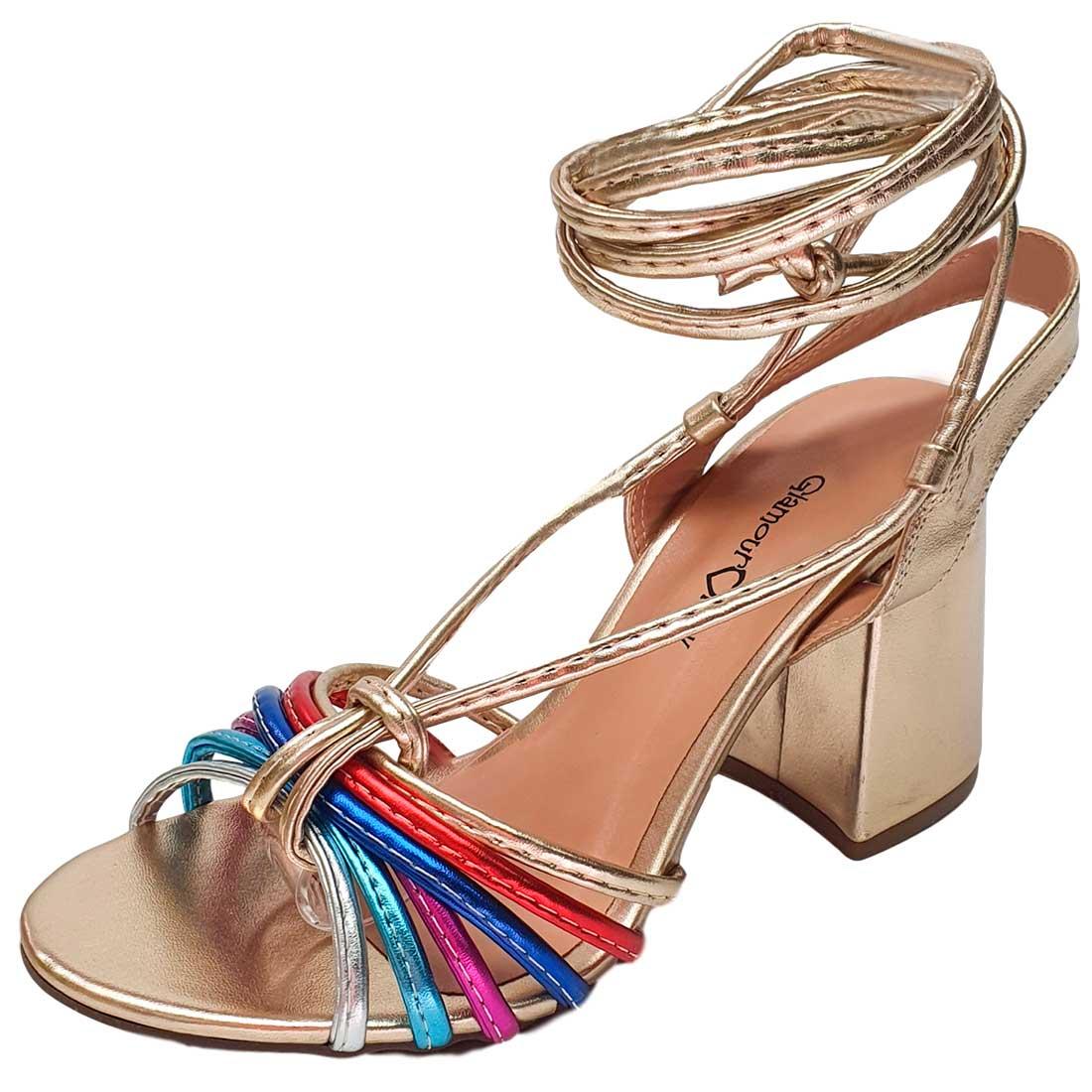 Sandália com Amarração Multicolor - Ouro