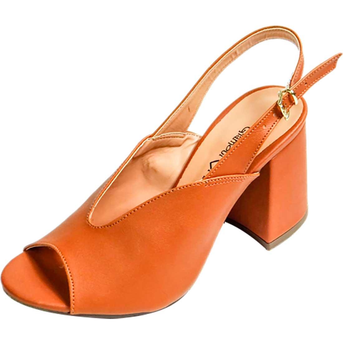 Sandália com Decote V - Caramelo