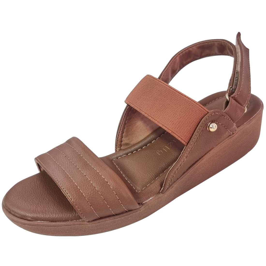 Sandália Comfort com Elástico - Caramelo